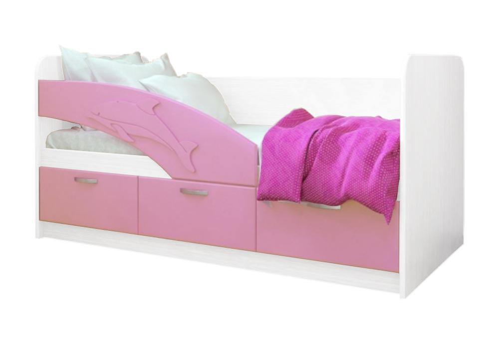 Детская кровать Дельфин-1 розовый металлик / белый