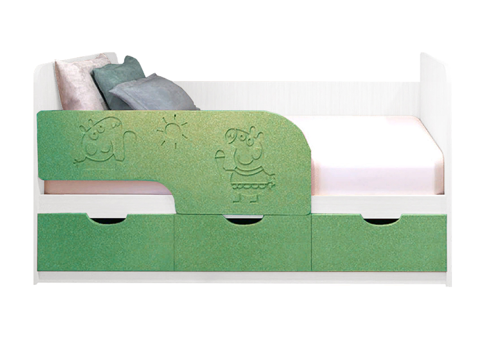 Детская кровать Свинка Пеппа салатовый металлик / белый
