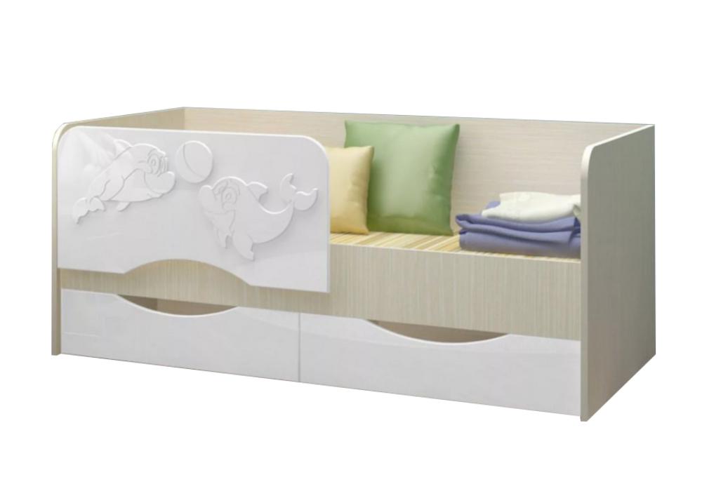 Детская кровать Дельфин-2 белый металлик / белый
