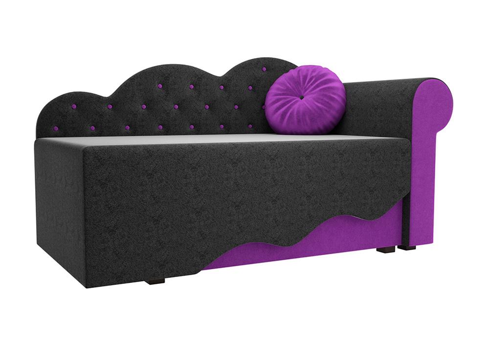 Детская кровать Тедди-1 микровельвет черный / фиолетовый