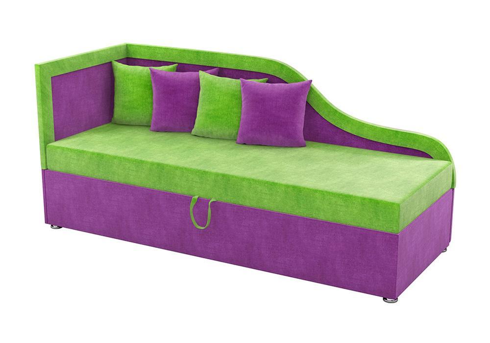 Детский диван Дюна микровельвет зеленый / фиолетовый