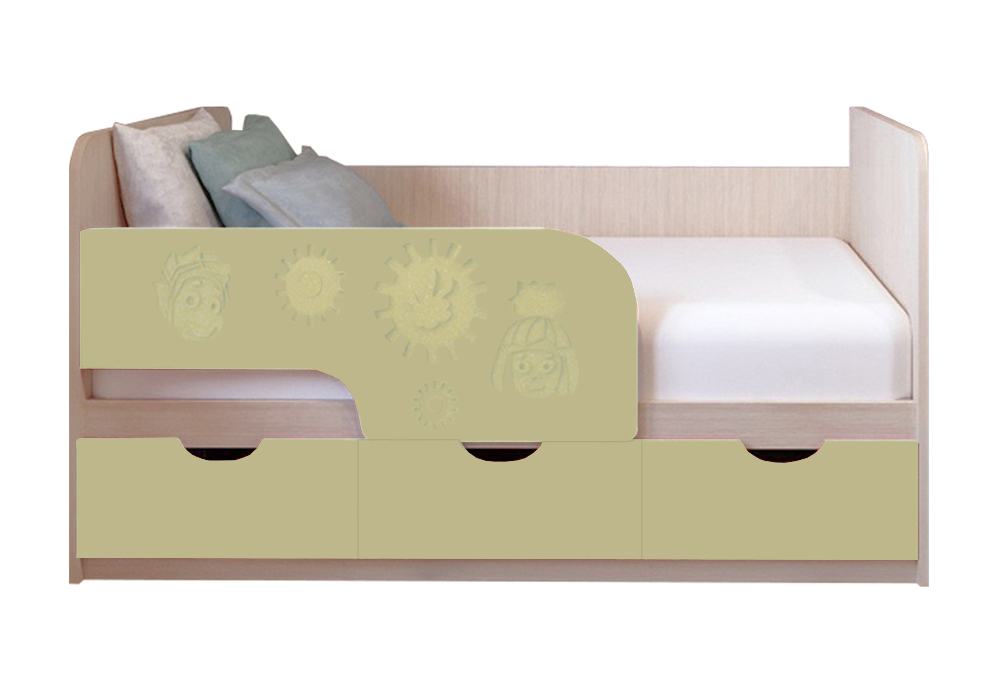 Детская кровать Фиксики ваниль матовый / белфорт