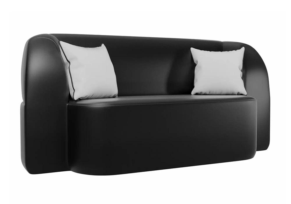 Детский прямой диван Томас экокожа черный