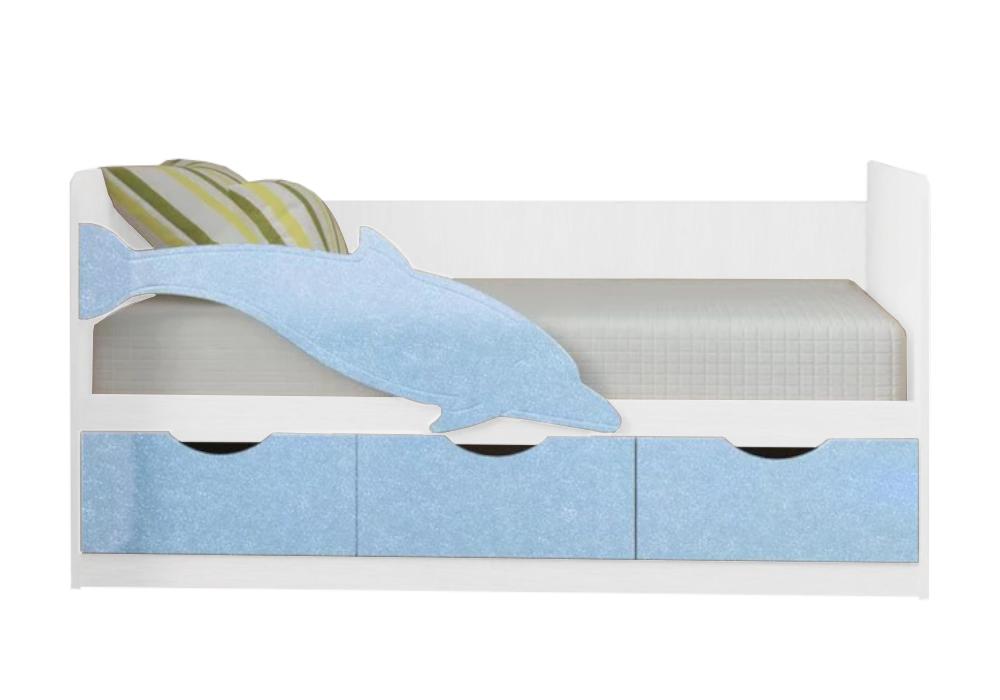 Детская кровать Дельфин-3 голубой металлик / белый