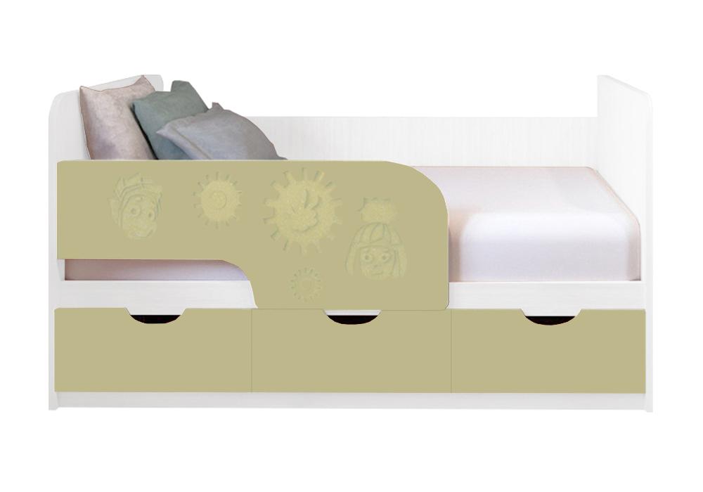 Детская кровать Фиксики ваниль матовый / белый