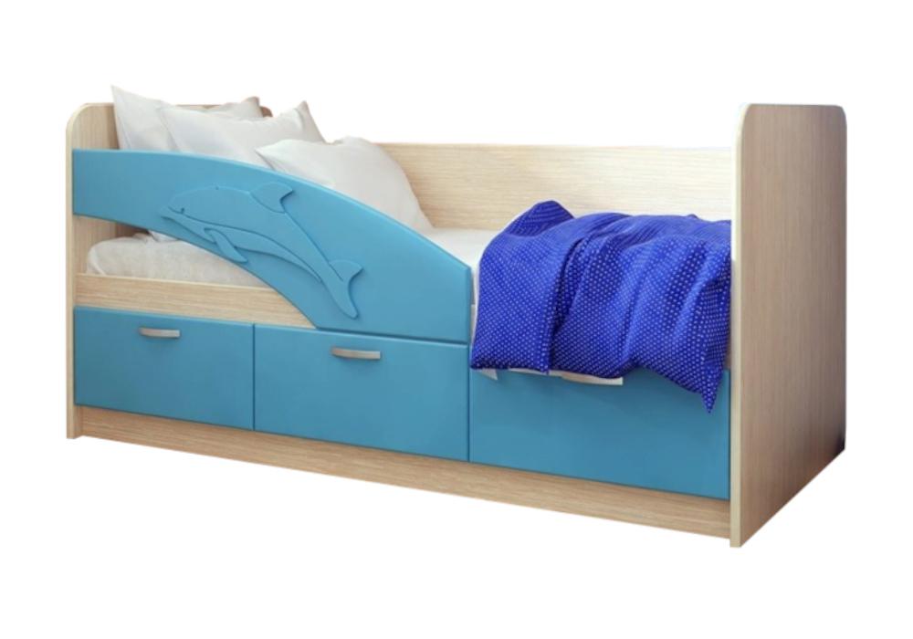 Детская кровать Дельфин-1 голубой металлик / белфорд