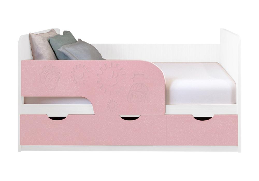 Детская кровать Фиксики розовый металлик / белый
