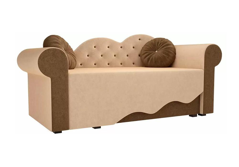 Детская кровать Тедди-2 микровельвет бежевый / коричневый
