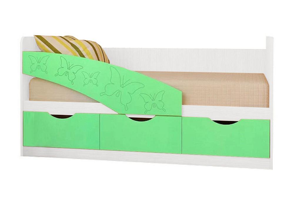 Детская кровать Бабочки салатовый металлик / белый