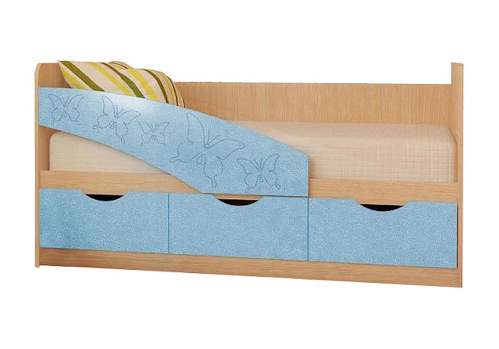 Детская кровать Бабочки голубой металлик / белфорд