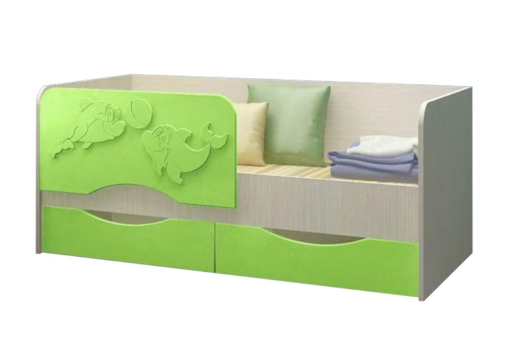 Детская кровать Дельфин-2 салатовый металлик / белфорд