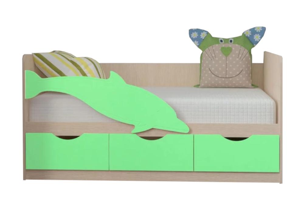 Детская кровать Дельфин-3 салатовый металлик / белфорд