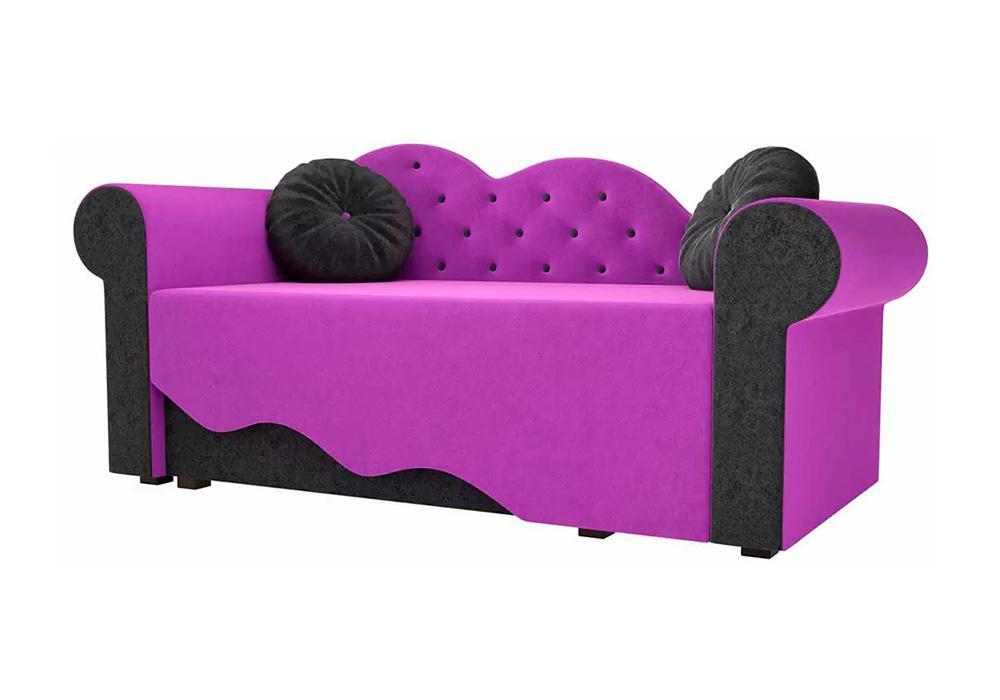 Детская кровать Тедди-2 микровельвет фиолетовый / черный