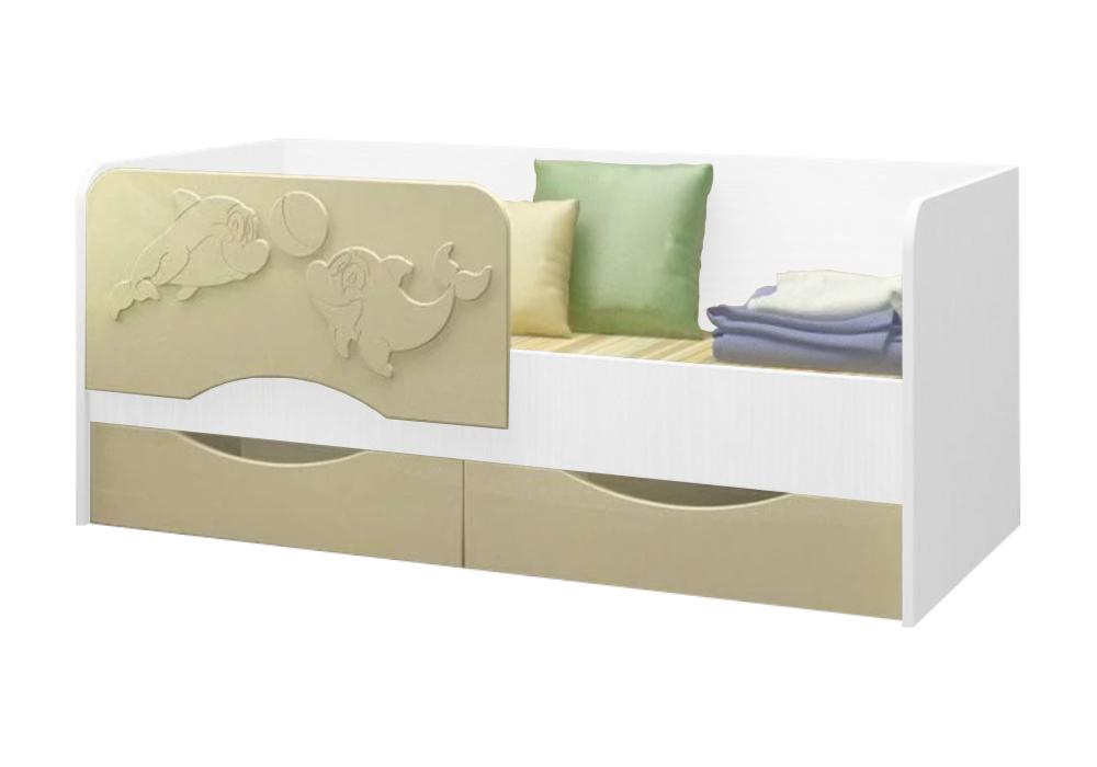 Детская кровать Дельфин-2 ваниль матовый / белый