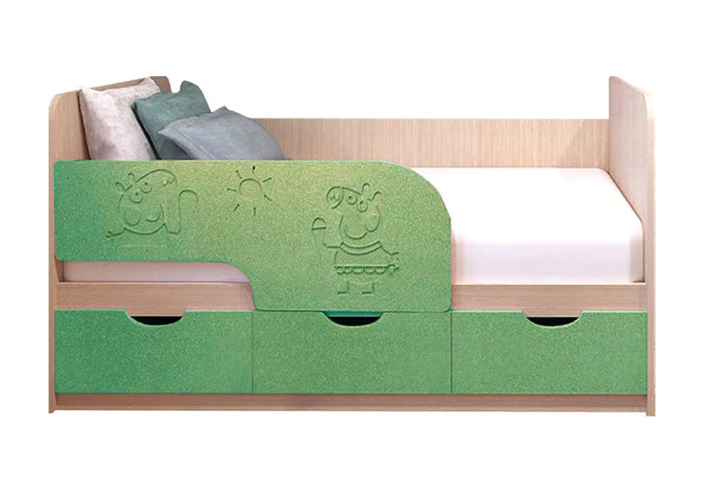 Детская кровать Свинка Пеппа салатовый металлик / белфорд