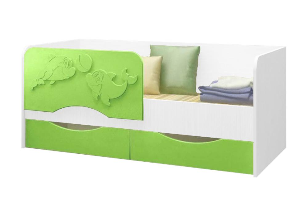 Детская кровать Дельфин-2 салатовый металлик / белый