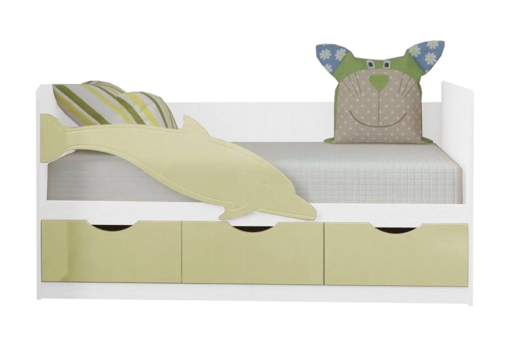 Детская кровать Дельфин-3 ваниль матовая / белый