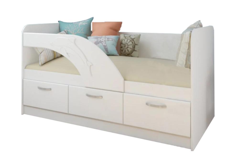Детская кровать Дельфин-1 белый металлик / белый
