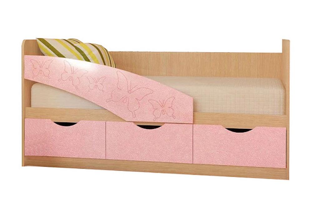 Детская кровать Бабочки розовый металлик / белфорд