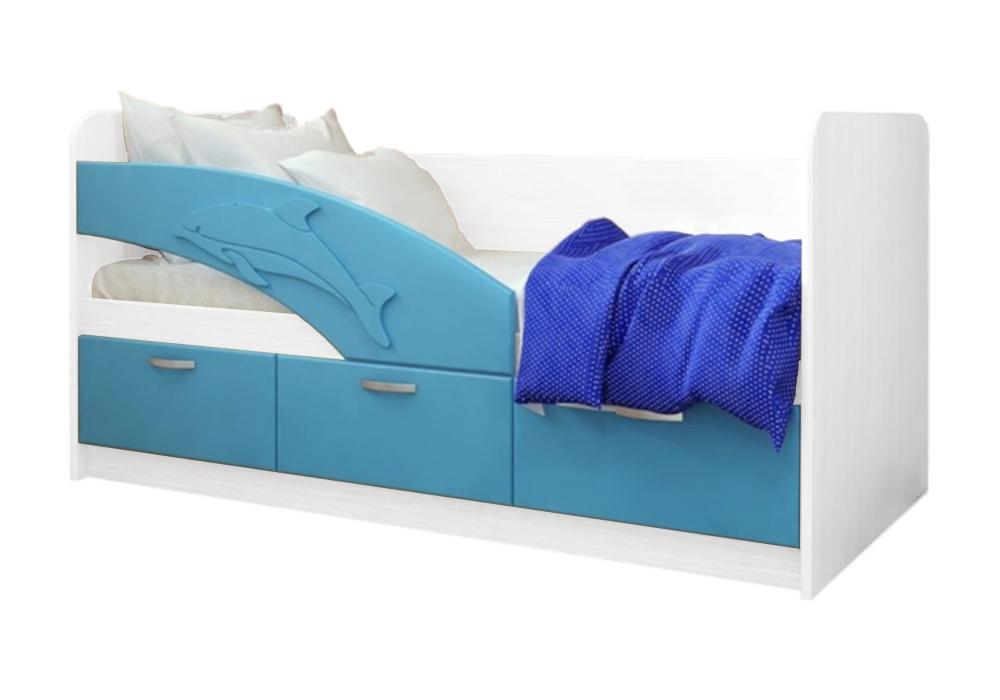 Детская кровать Дельфин-1 голубой металлик / белый