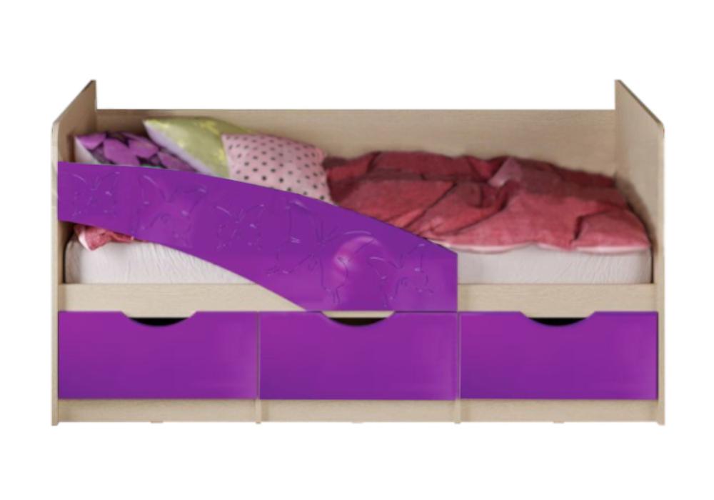 Кровать Бабочки фиолетовый металлик