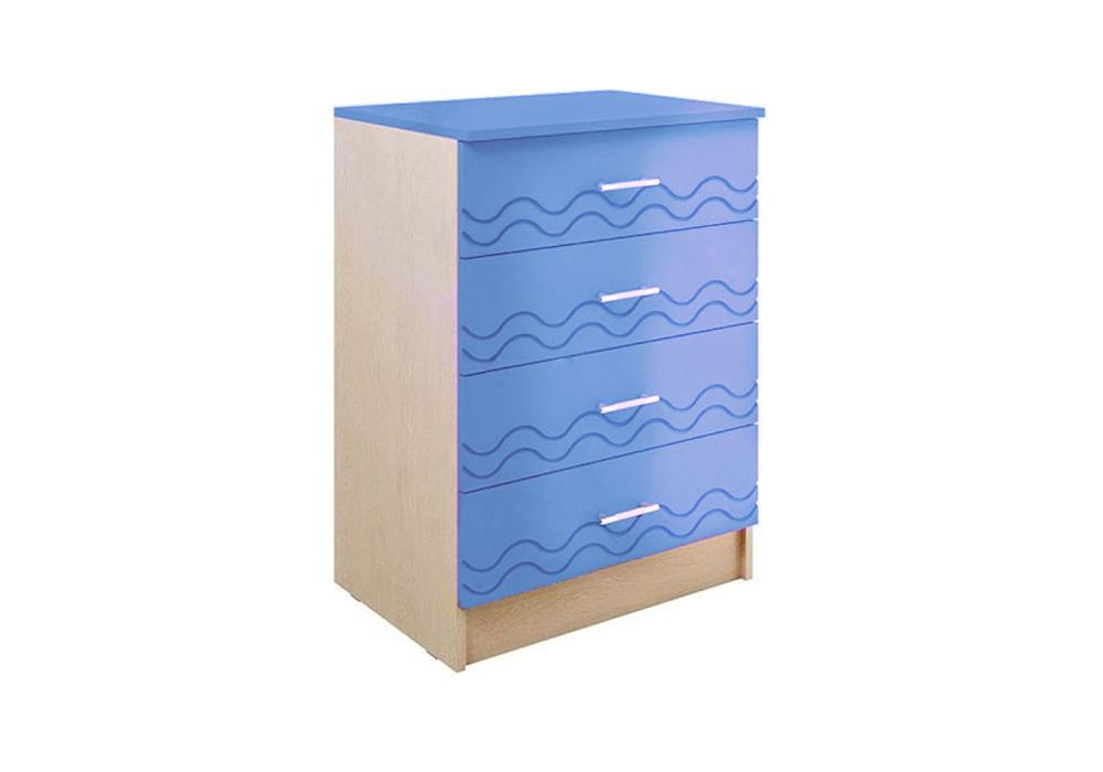 Комод Юниор-2 синий металлик / дуб беленый