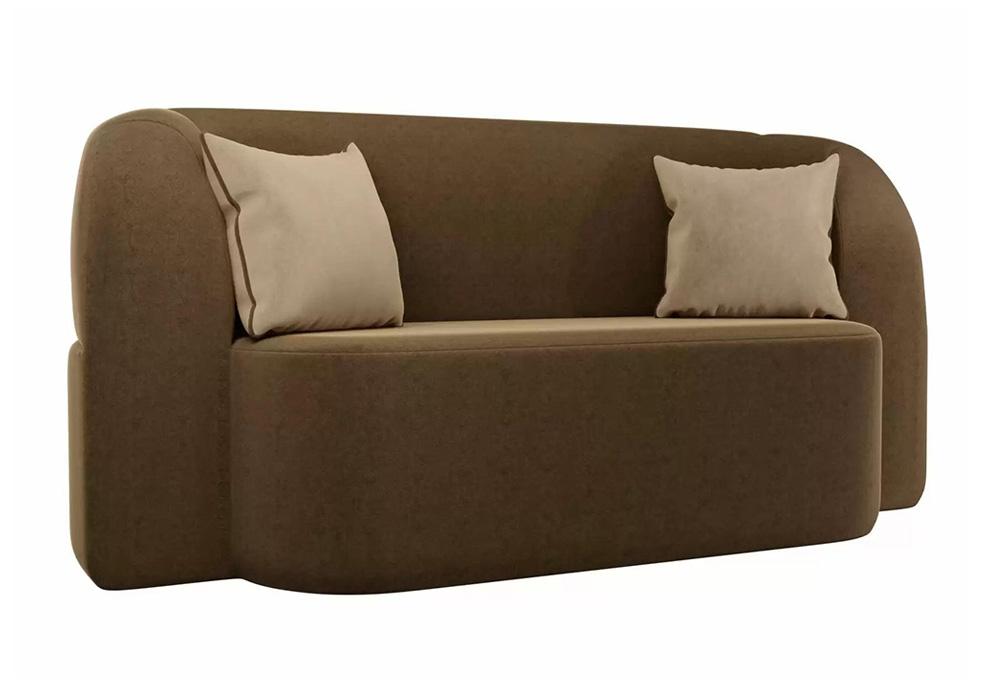 Детский прямой диван Томас микровельвет коричневый