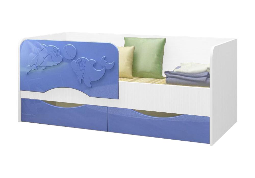 Детская кровать Дельфин-2 голубой металлик / белый