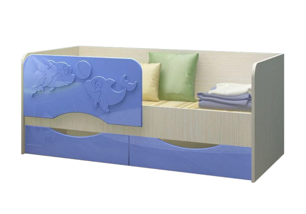 Детская кровать Дельфин-2 голубой металлик / белфорд