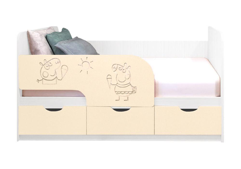 Детская кровать Свинка Пеппа ваниль матовый / белый