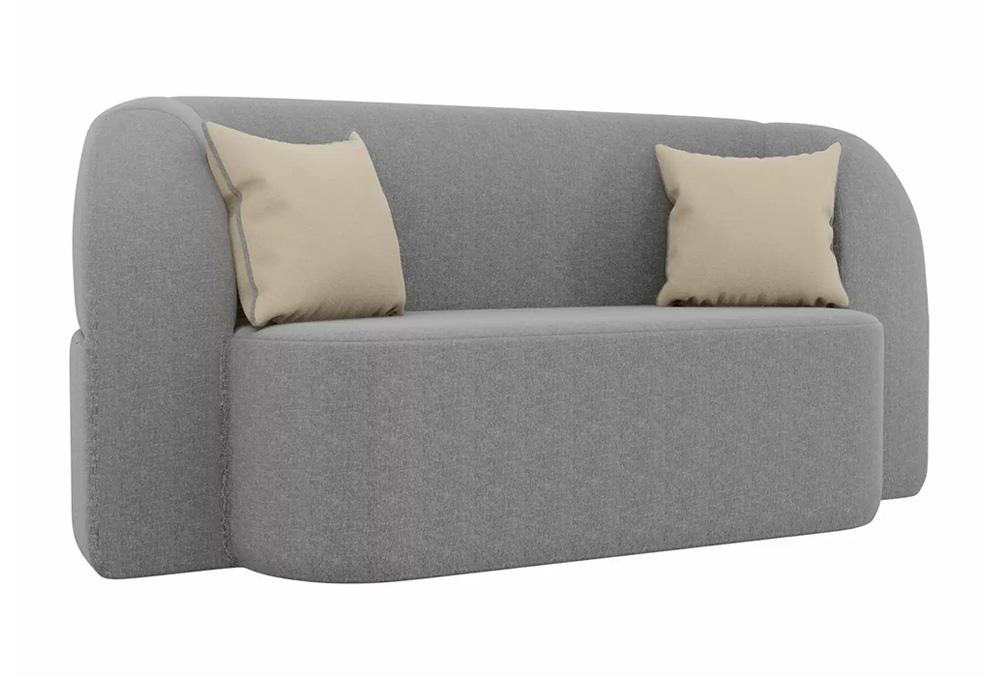 Детский прямой диван Томас рогожка серый / бежевый