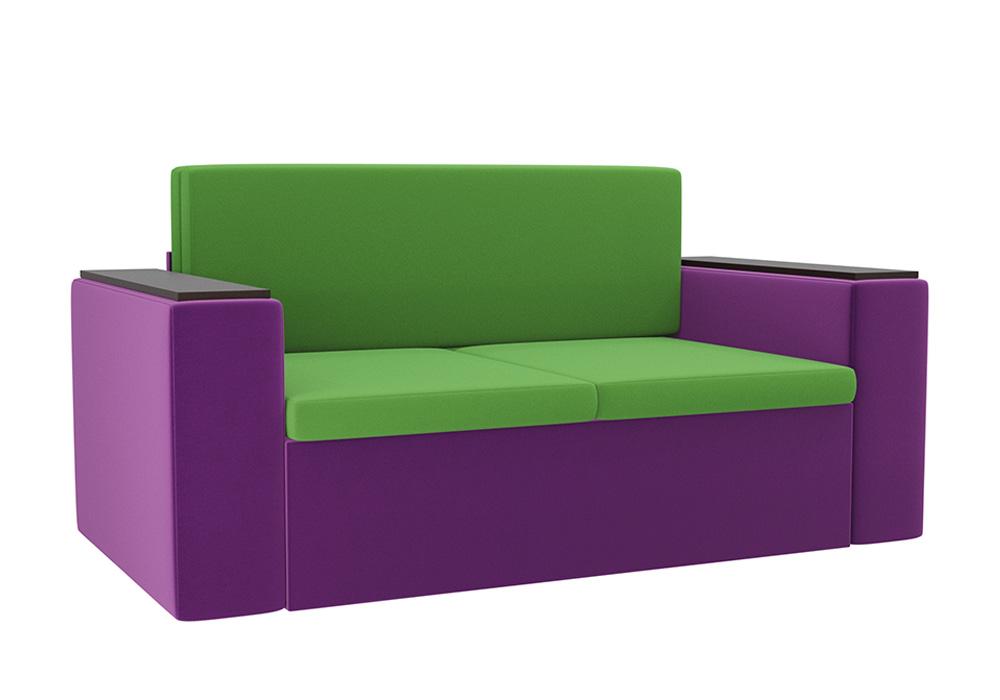 Детский диван Арси микровельвет зеленый / фиолетовый