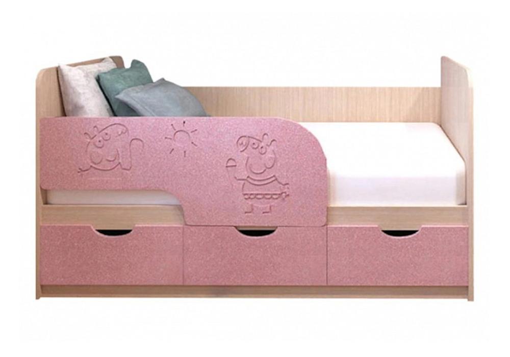 Детская кровать Свинка Пеппа розовый металлик / белфорд