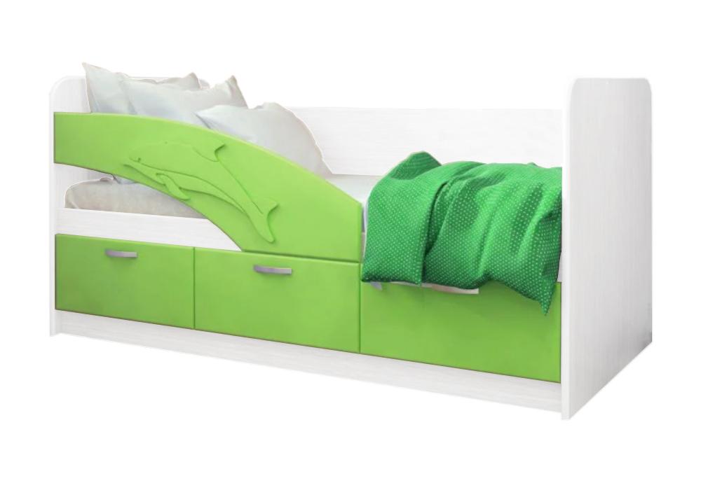 Детская кровать Дельфин-1 салатовый металлик / белый