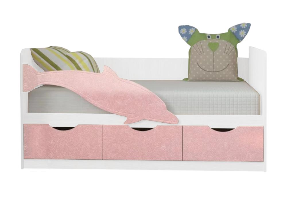 Детская кровать Дельфин-3 розовый металлик / белый