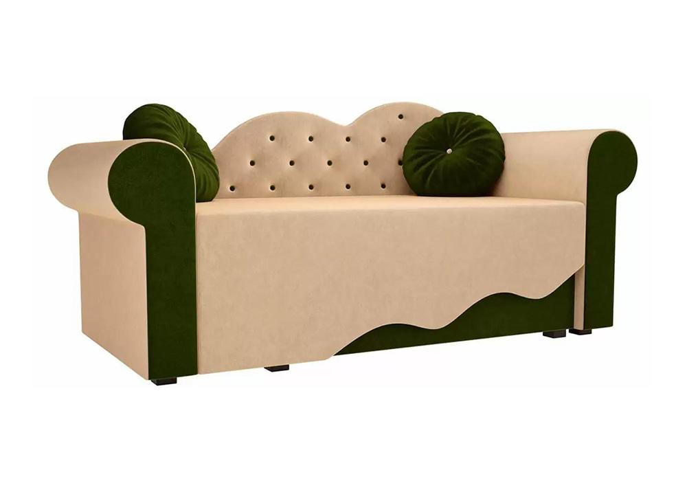 Детская кровать Тедди-2 микровельвет бежевый / зеленый