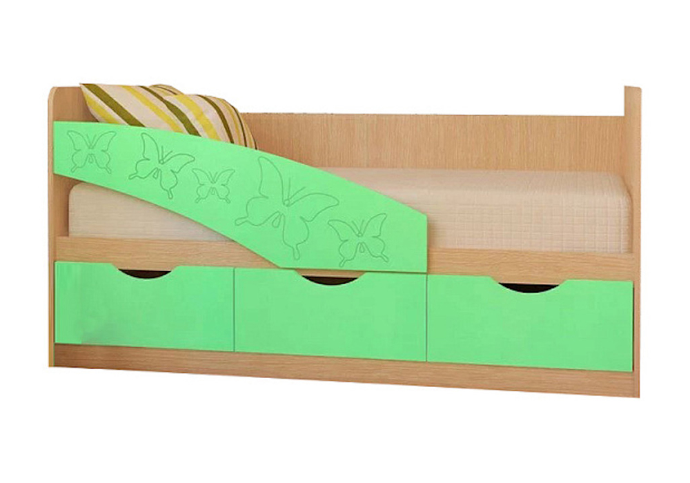 Детская кровать Бабочки салатовый металлик / белфорд
