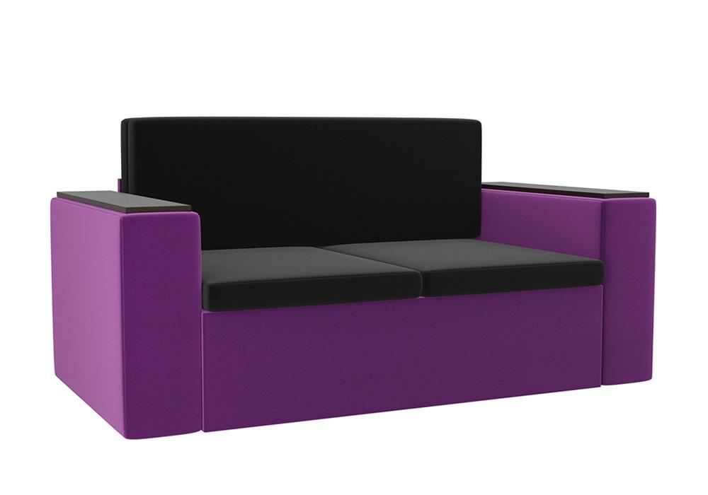 Детский диван Арси микровельвет черный / фиолетовый