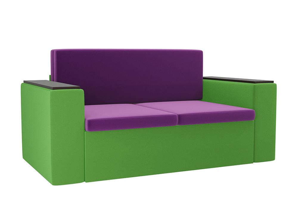 Детский диван Арси микровельвет фиолетовый / зеленый
