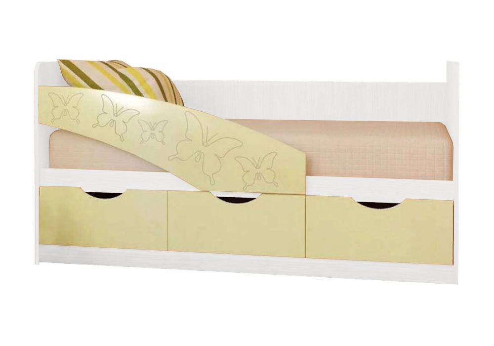 Детская кровать Бабочки ванильный матовый / белый
