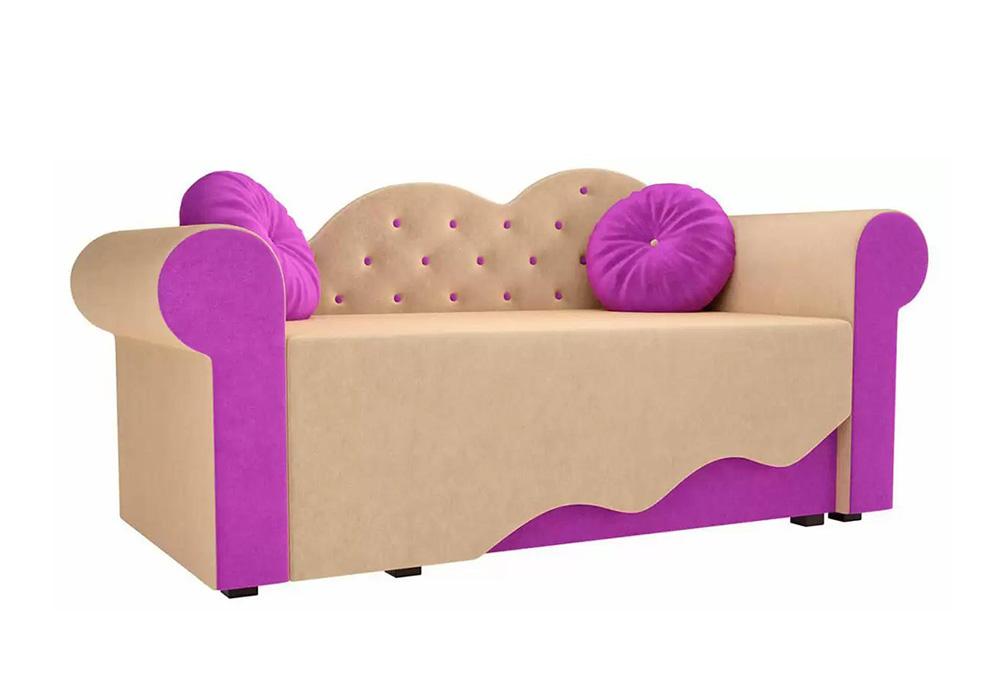Детская кровать Тедди-2 микровельвет бежевый / фиолетовый