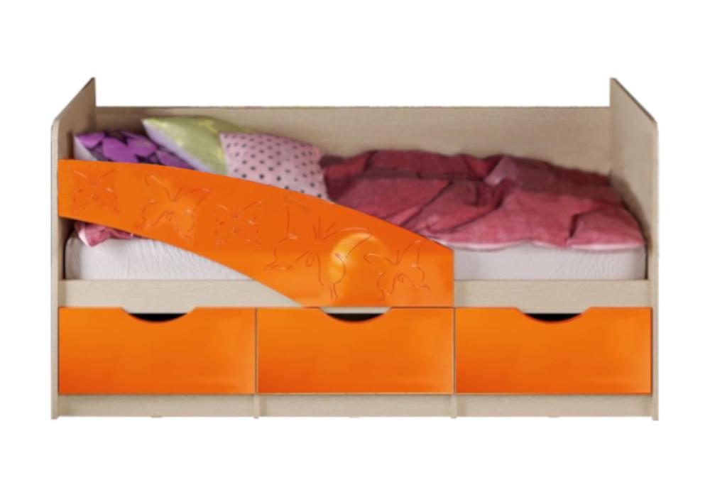 Кровать Бабочки оранжевый металлик