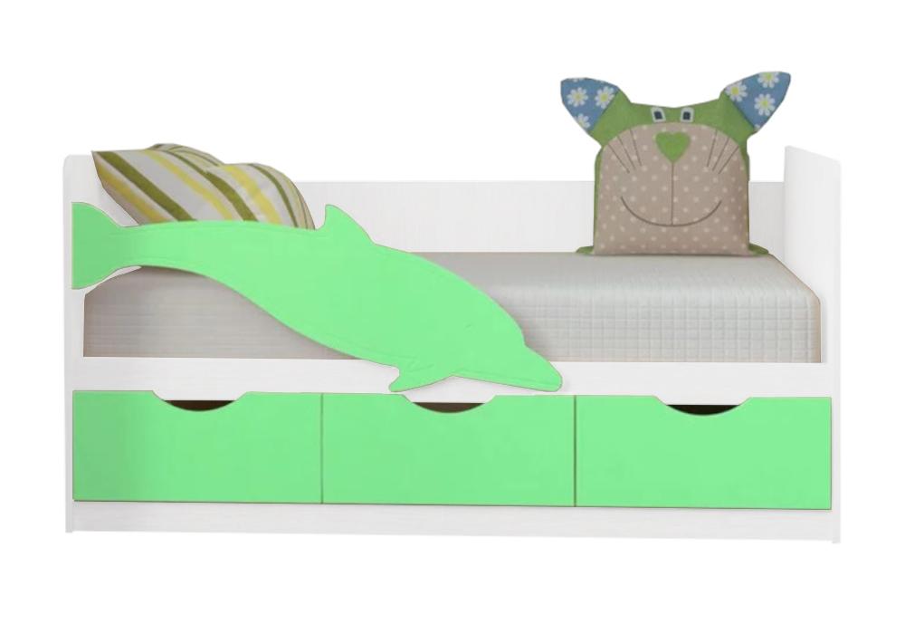 Детская кровать Дельфин-3 салатовый металлик / белый