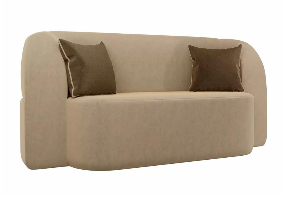 Детский прямой диван Томас микровельвет бежевый / коричневый