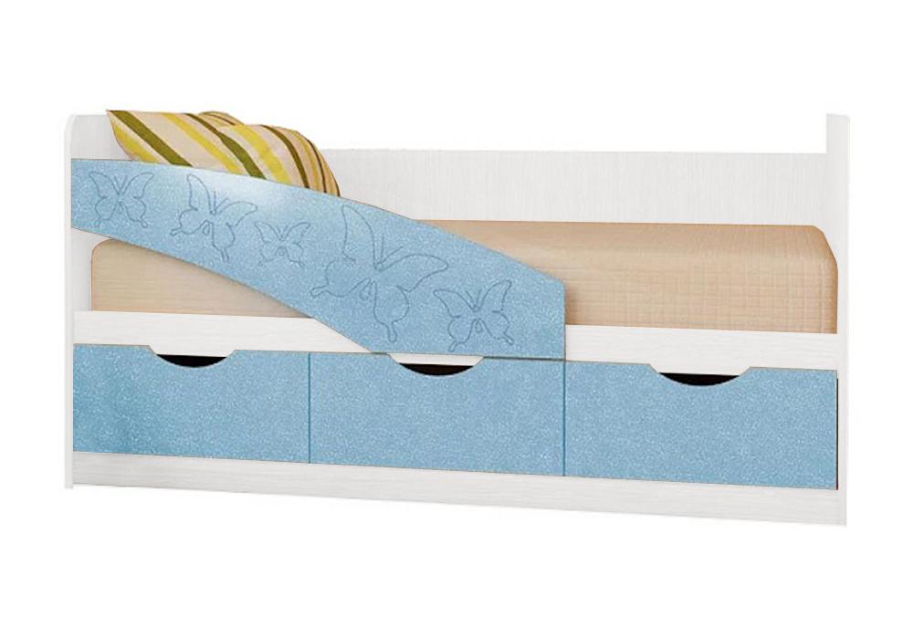 Детская кровать Бабочки голубой металлик / белый