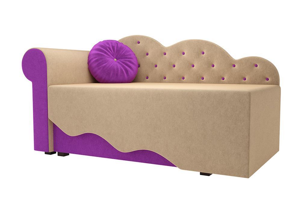 Детская кровать Тедди-1 микровельвет бежевый / фиолетовый