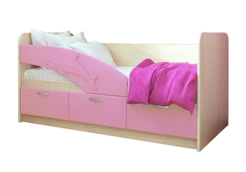 Детская кровать Дельфин-1 розовый металлик / белфорд