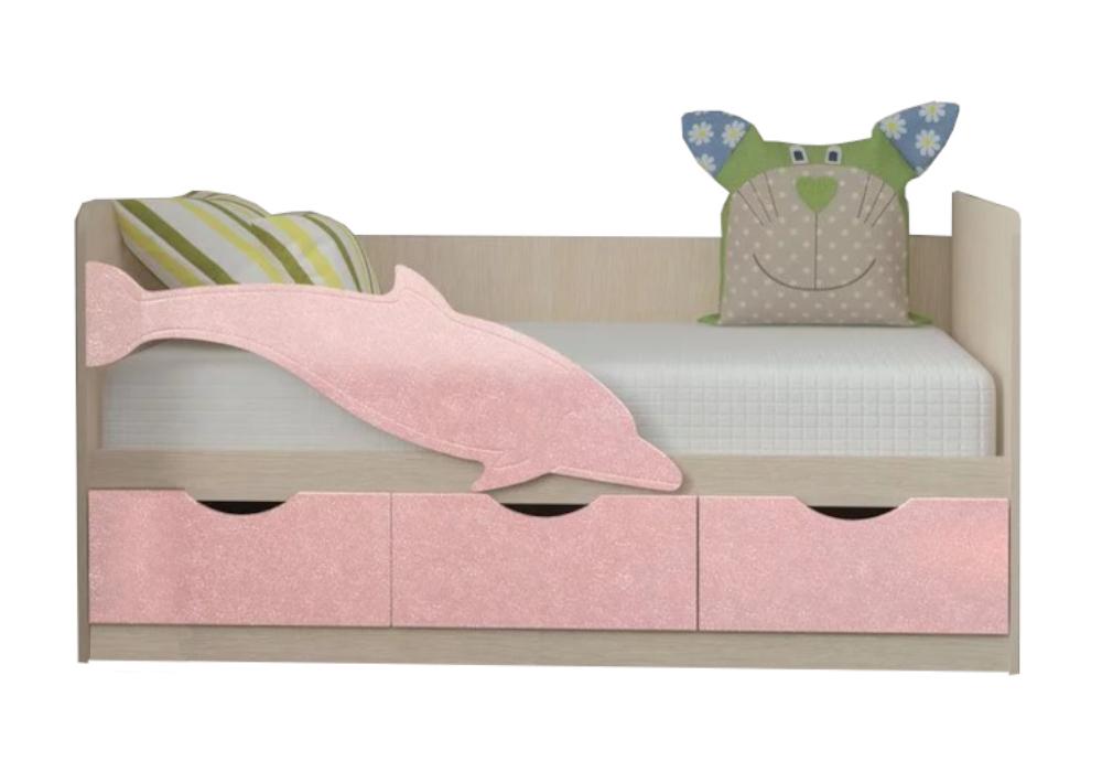Детская кровать Дельфин-3 розовый металлик / белфорд