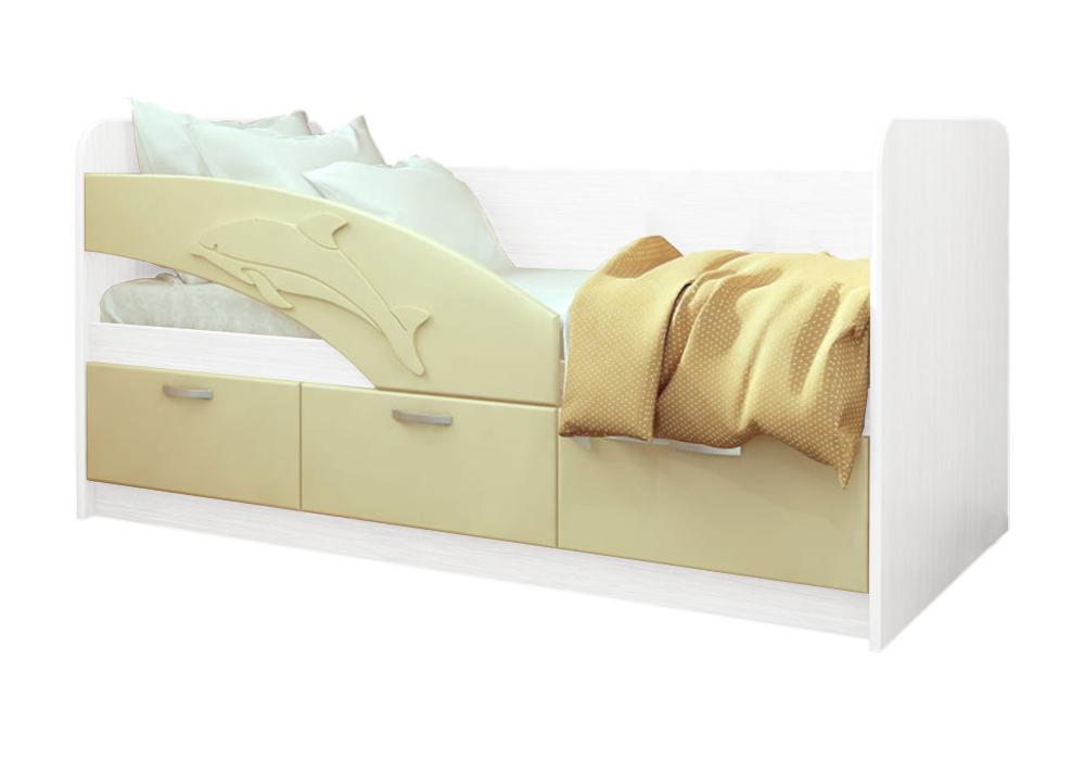 Детская кровать Дельфин-1 ваниль матовый / белый