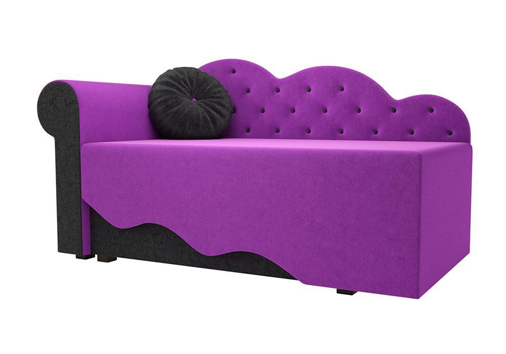Детская кровать Тедди-1 микровельвет фиолетовый / черный